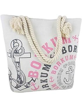 Sonia Originelli Shopper Strandtasche Kreis Anker Beach Tasche T021-Borkum