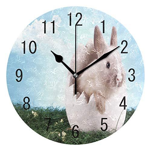 Use7 Home Decor Wanduhr, Motiv Ostern, Kaninchen, grünes Gras aus Acryl, Nicht tickend, geräuschlose Uhr, Kunst für Wohnzimmer, Küche, Schlafzimmer