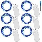 Fairy String Lights mit Schraubenzieher, SENHAI Set von 6 LED-Leuchten Kupferdraht, 20 LED-Lampen für Schlafzimmer Haus Party Hochzeit Konzertfest Halloween Weihnachtsbaum Dekoration - Blau