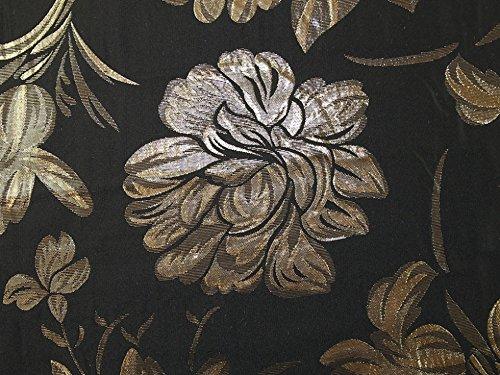 Minerva Crafts Floral Gewebe der Metallic Brokat Kleid Schwarz & Gold-Meterware -