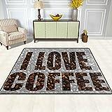 DEYYA Moderne Bereich Teppich Teppiche I Love Kaffeebohnen Non-Slip-Boden-Matte Fußmatten für Wohnzimmer Schlafzimmer es 63 x 48 Zoll Multi
