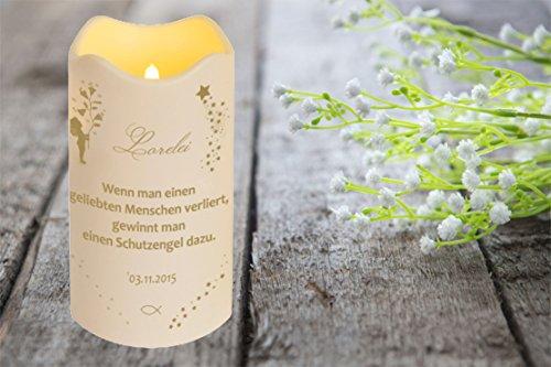 LED Vela Plástico Temporizador Sensor de luz 18x10 cm Interior + Exterior intermitente Llama Vela memorial Día de la muerte individualizado personal con nombre (Motivo 9)