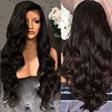 Andouy Fashion Haute Qualité Perruque pour Femme, Style Naturel Perruque Synthétique Résistant à la Chaleur ondulées Noir Long Cheveux Bouclé...