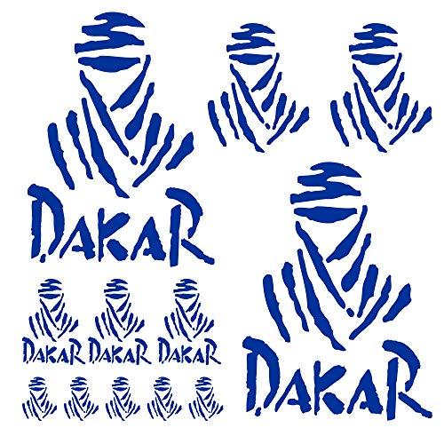 Autodomy Pegatinas Dakar Pack de 15 Unidades para Coche o Moto (Azul)