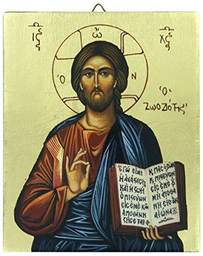 Ferrari & Arrighetti Icono Cristo Pantócrator con Libro Abierto Pintado a Mano sobre Madera - 13 x 16 cm