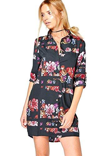Schwarz Damen Neve Hemdkleid Mit Blumen-print Schwarz