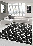 Carpetia Teppich modern Wohnzimmerteppich Orient marokkanisches Muster schwarz grau Silber Größe 80 x 300 cm