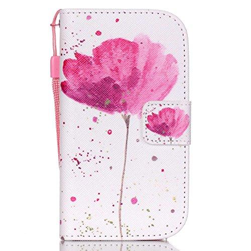 ISAKEN Kompatibel mit Galaxy S3 Mini Hülle, PU Leder Geldbörse Wallet Case Ledertasche Handyhülle Tasche Case Schutzhülle mit Handschlaufe Standfunktion für Samsung Galaxy S3 Mini - Blume Pink