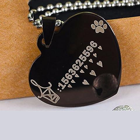 Carte d'identité, Personnalisé chien lettrage personnalisé Collier pour chien, chat, Collier bell carte tag marque, d'accessoires pour animaux de coeur,Black,S-petit