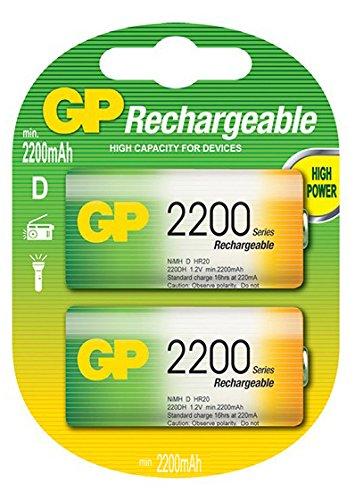 GP Blister de 2 piles rechargeables D 2200 mAh NiMH