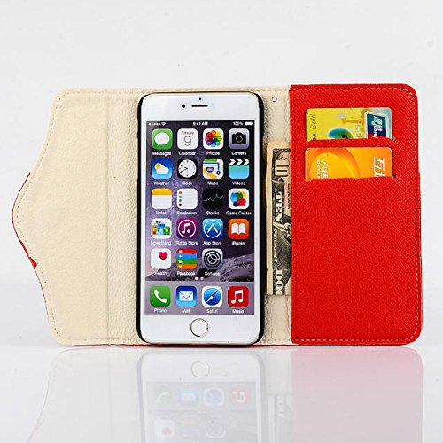 Custodia inShang cover per iPhone 6 4.7, Cover con Cerniera + build-in tasca , Supporto rigido per iphone6 Case in pelle PU, , + inShang Logo pennino di alta classe+ inShang Logo pennino di alta clas zipper rivet red