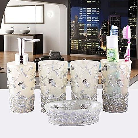 Resina salute creativa di cortesia da bagno da Bagno Bicchiere Bicchiere 5 Kit di spazzolatura per accessori
