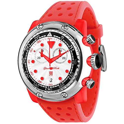 Glam Rock Men's Miami Beach 50mm Red Silicone Band Polycarbonate Case Quartz White Dial Watch GR20136