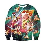 Pullover Weihnachtsmotiv Pizza Schwein Katze