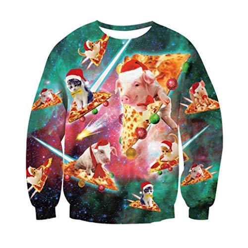 Rave on Friday Unisex 3D Pullover Teenager Druck Weihnachtsschwein Muster Bequem Lose Sweatshirts Casual Kostüme für Paar Familie L