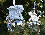 Engel auf Kugel Hänger, Weihnachtlicher Baumschmuck, Christbaumschmuck, 4 Stck. im Set