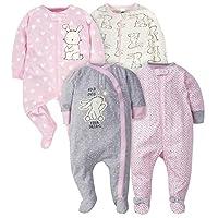 Gerber Baby Girls' 4-Pack Sleep 'N Play, Bunny, 3-6 Months