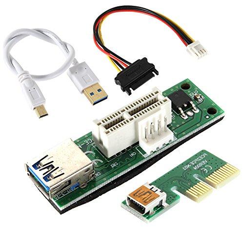 ZREAL Mini PCI-e PCI Express Extension 1X Riser Card Stromversorgung USB 30cm Extender Cable 4Pin