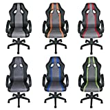 ESTEXO® Bürostuhl Racing Drehstuhl Schreibtischstuhl Chefsessel Bürosessel Stuhl (Schwarz / Schwarz / Grau)