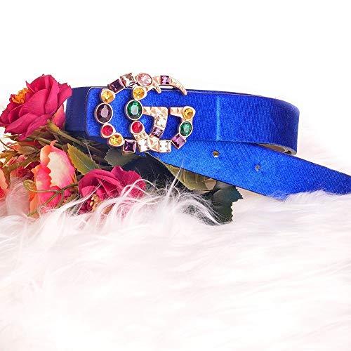 Davani Cinturon Terciopelo Doble GG con Piedras Azul Unica 2f909bd6b287