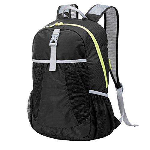 Yy.f Ultra-robust Leicht Pauschalreisen Rucksack Wandern Tagesrucksack Ultra-light Falten Outdoor-Reisen Camping Reiten Schultaschen. Multicolor Black