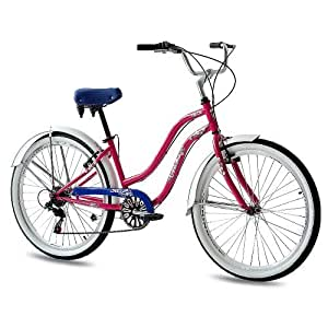 "26"" KCP BEACH CRUISER COMFORT BIKE Ladies ALOHA 2.0 6S SHIMANO pink (p) RETRO LOOK - (26 Zoll)"