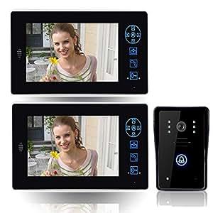 """Wawoo® 7 """"Couleur TFT LCD Portier Interphone sans fil (Wireless), Interphone Vidéo Sonnette, Vidéo Sonnette de Téléphone, Intercom Visiophone, Caméra de Surveillance (Impermeable Cover Design de la Caméra extérieure) pour Accueil Security, Distance de Fonctionnement approximative 400 Metres, avec 2 Moniteurs 3 Batteries 2.4GHz"""