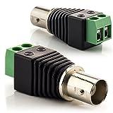 zanasta [2 Stück] BNC Buchse Koaxial Kupplung Terminalblock Connector zu 2 Pol Adapter, Kabel Verbinder mit Schraubklemme, Schwarz-Grün