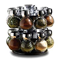 16 Piece Glass Spice Jar Rack Set,Features round rotating spice rack to house the spice jars [ASJ]
