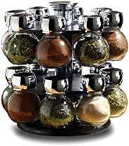 16 Piece Glass Spice Jar Rack Set, Features Round Rotating Spice Rack to House the Spice Jars