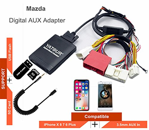 Neue Mazda iPhone Stereo Aux Adapter, KFZ Digital Audio-Eingang Interface mit SD-Karte, iPod MP3 USB, 3,5 mm AUX IN, Lighnting Musik Player für MAZDA 2009-2012 - Ipod Touch-wechsler