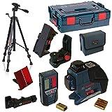 Bosch Linienlaser GLL 3-80 P + BM1 + Deckenklemme 1608M0080N + LR2 + L-Boxx Gr. 2 + Baustativ BT 150