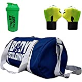 5 O' CLOCK SPORTS Combo Set Enclosed with Body Building Polyester Duffle Gym Bag (49cm x 24cm x 24cm, Standard, Blue)