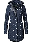 Peak Time Damen Übergangs-Mantel Softshelljacke L60013 Blau/Weiß Gepunktet Gr. XL