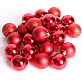 Toyvian 24pcs Multicolor Decorative Theme Pack Of Exquisite Christmas Balls Ornaments For Tree Decoration Decor Ball (Red)