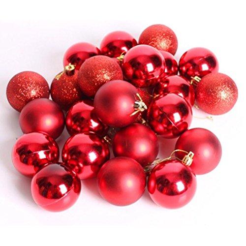 NUOLUX 24pcs degli ornamenti delle palle di Natale, Decorazioni natalizie (rosso)