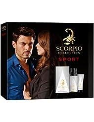 Scorpio Collection Sport Coffret d'Eau de Toilette Flacon de 75 ml + Déodorant Atomiseur 150 ml + Gel Crème pour Visage 50 ml 3 Pièces