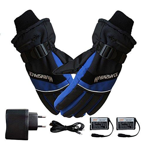 Beheizte Handschuhe, Samber Wiederaufladbare Beheizbare Handschuhe Winter Sporthandschuhe mit Nacht Reflektierende für Outdoor Biking...