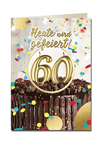 """bentino XXL Glückwuschkarte mit Musik\""""60er Geburtstag\""""   Geburtstagskarte mit Sound   Grußkarte mit Umschlag A4   Interaktive Klappkarte mit Melodie   Karte mit Licht und Puste-Funktion"""