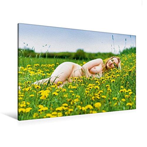 Calvendo Premium Textil-Leinwand 120 cm x 80 cm Quer, Hot XXL Girls | Wandbild, Bild auf Keilrahmen, Fertigbild auf Echter Leinwand, Leinwanddruck: XXL Frau nackt auf der Wiese Menschen Menschen