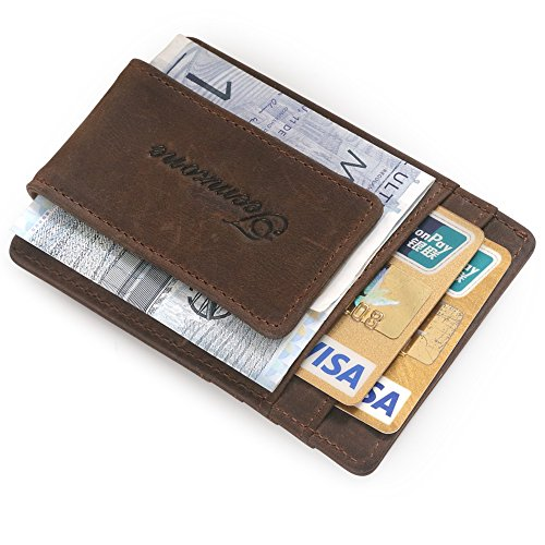 fermasoldi uomo pelle vitello dauphine marrone calamita porta carte di credito in pelle magnete portafoglio uomo (RFID marrone Chiaro)