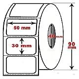 DIMATICA - Rotolo Da 1800 Etichette Adesive Mm 50X30 Termiche 1 Pista Anima 40