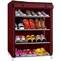 Ebee Store Shoe Rack with 4 Shelves (Maroon)