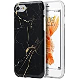 """iPhone 8/7 Case, Insten [Marble Pattern] Ultra Slim Lightwight Soft TPU Rubber Candy Skin Anti Slip Case Cover for Apple iPhone 8/7 2016 (4.7""""), Black/Gold"""