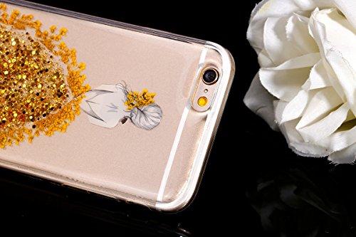 iPhone 6/6S Coque,Etsue étuis pour Téléphones pour iPhone 6/6S,Cristal Clair Ultra-Mince Shiny Glitter Cristal TPU Silicone Tranparente Coque de Téléphones pour iPhone 6/6S,Rempli Cristal et Vrai de F d'or