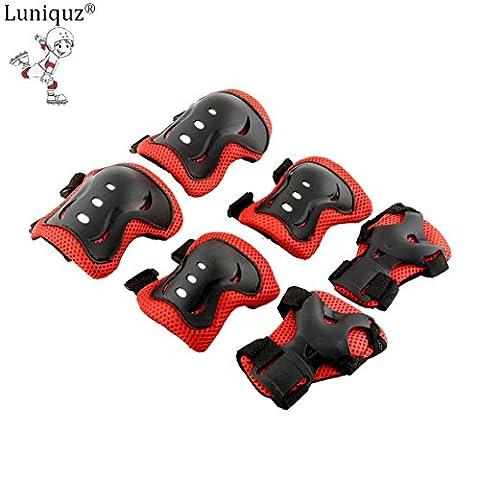 Luniquz Kit de Protection pour les Enfants - 2 Protège-paume et Protège-poignet + 2 Coudières + 2 Genouillères - Adapter au Skate-board, Vélo, Roller, Patins à glace, etc (Rouge-Noir)