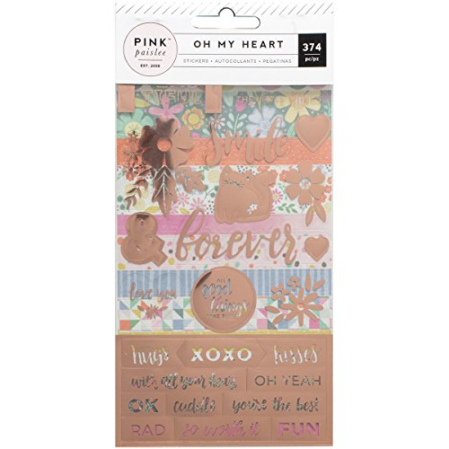 American Crafts 310522Paige Evans Oh My Heart 4-Page Aufkleber Buch, Mehrfarbig