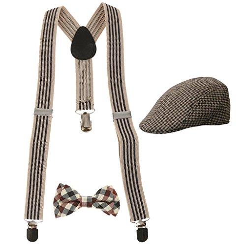 Sharplace Kinder Jungen Stretchble Y-back Hosenträger mit Fliege mütze Set