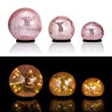 Online-Fuchs 3er SET Glaskugeln mit LED Lichterkette inkl. Timer - In und Outdoor geeignet - Deko Kugeln in Bruchglasoptik - LED Beleuchtung (Roségold)