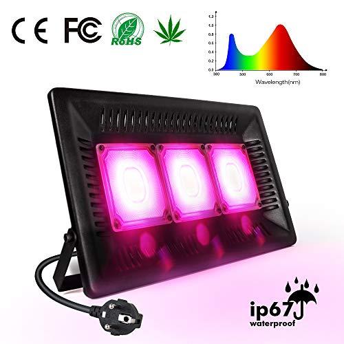 Lámpara de planta, Relassy COB Lámpara de planta Full Spectrum Planta Luz 150w con enchufe de 1,7 m UE, IP67 Lámpara de cultivo impermeable para plantas de interior, Invernadero, Hidroponía